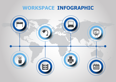 Infographic design with workspace icons, stock vector Illustration