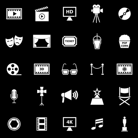Movie icons on black background, stock vector