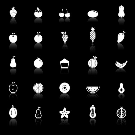 Fruit icons with reflect on black background, stock vector.