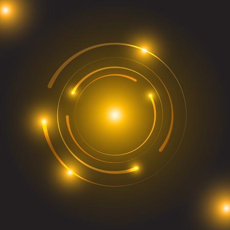 Beautiful golden glowing circle light, stock vector