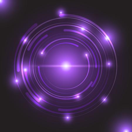 Beautiful purple glowing circle light, stock vector