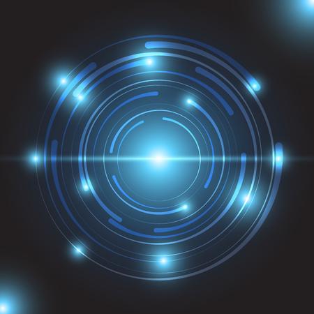 Beautiful blue glowing circle light, stock vector Illustration