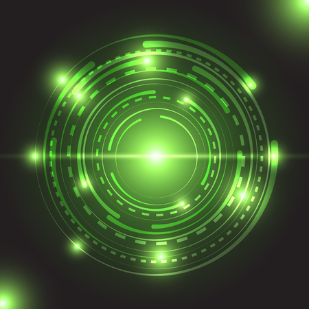 Beautiful green glowing circle light, stock vector Illustration