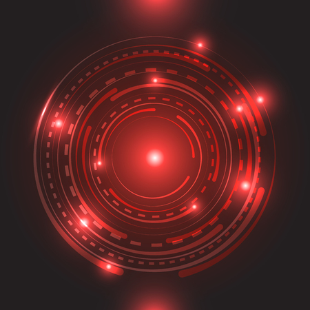 Beautiful red glowing circle light, stock vector