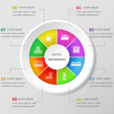 Infographic design template with hotel icons, stock vector