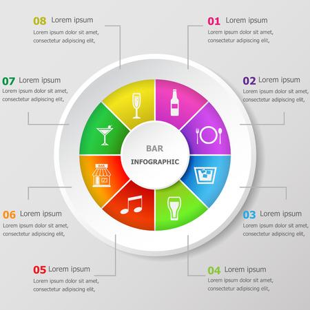 Modèle de conception infographique avec des icônes de la barre, vecteur stock