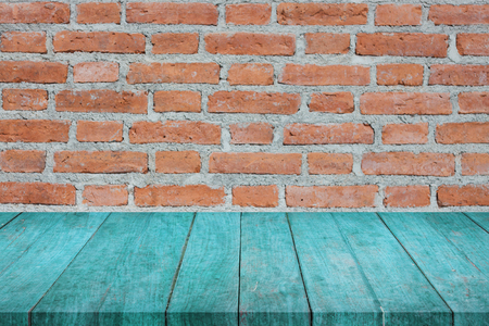 Perspective of blue top wooden on brick wall, stock photo Stock Photo