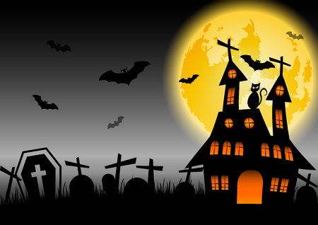 Halloween background with haunted house and black cat, stock vector Illustration
