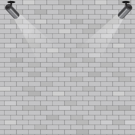 Spotlights on grey brick wall background, stock vector 写真素材 - 110675514
