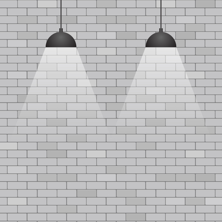 Ceiling lights on grey brick wall background, stock vector