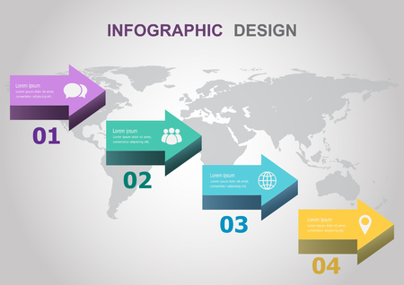 Infographic design template with arrows, stock vector