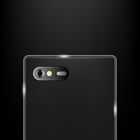 Realistic back camera on the smartphone, stock vector