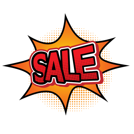 Sale comic text speech bubble, stock vector