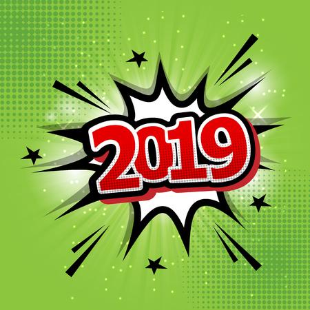 2019 happy new year comic text speech bubble, stock vector