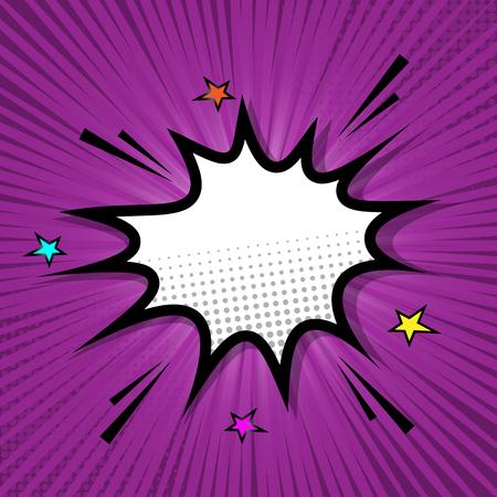 Retro speech bubble on purple background, stock vector Çizim