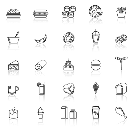 Popular food line icons with reflect on white background, stock vector