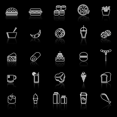 Popular food line icons with reflect on black background, stock vector