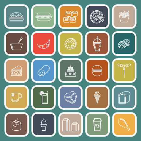 Popular food line flat icons on green background, stock vector