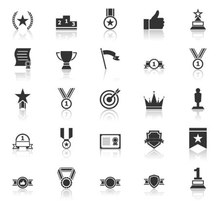 Victory icons with reflect on white background