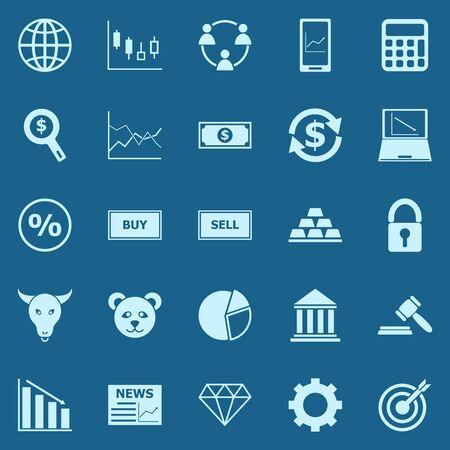 Icônes de couleur Forex sur fond bleu, stock vector
