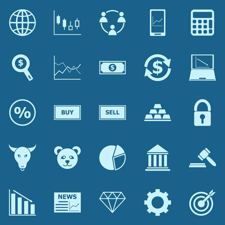 Forex color icons on blue background, stock vector Illustration