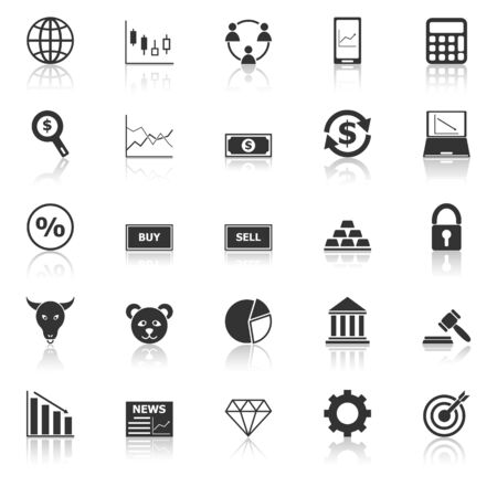Forex icons with reflect on white background, stock vector  イラスト・ベクター素材
