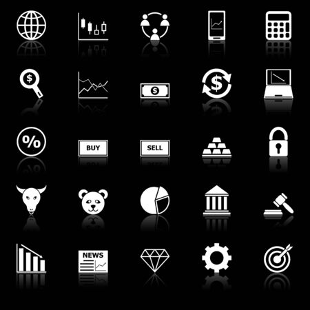 Forex icons with reflect on black background, stock vector