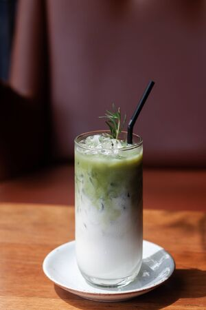 Iced matcha green tea latte, stock photo
