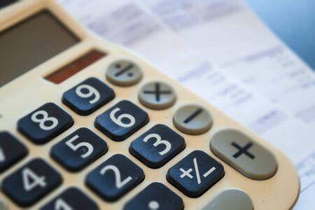 Calculator of some financial data, stock photo 스톡 콘텐츠