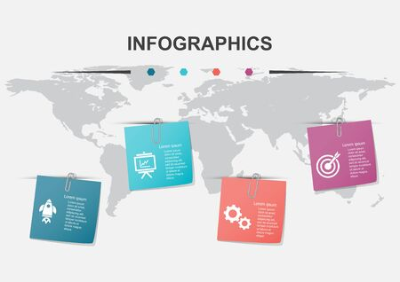 Infographic design template with note papers