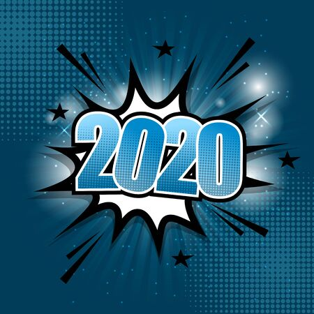 2020 comic text speech bubble on blue background, stock vector