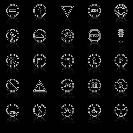 Road sign line icons with reflect on black background, stock vector