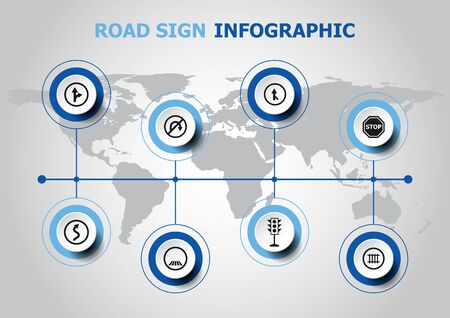 Infographic design with road sign icons, stock vector