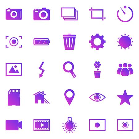 Photography gradient icons on white background, stock vector Illustration