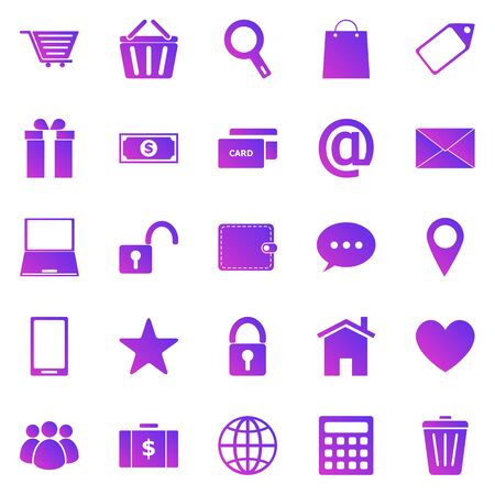 Ecommerce gradient icons on white background, stock vector