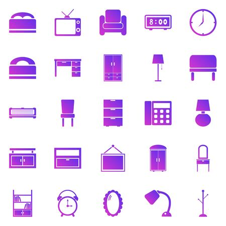 Bedroom gradient icons on white background, stock vector Illustration