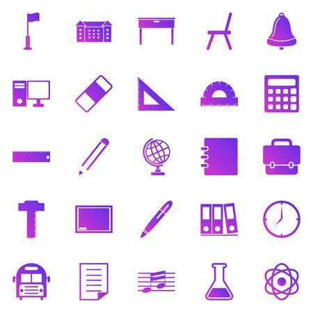 School gradient icons on white background, stock vector