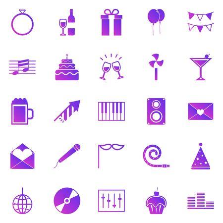 Celebration gradient icons on white background, stock vector