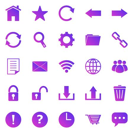 Tool bar gradient icons on white background, stock vector
