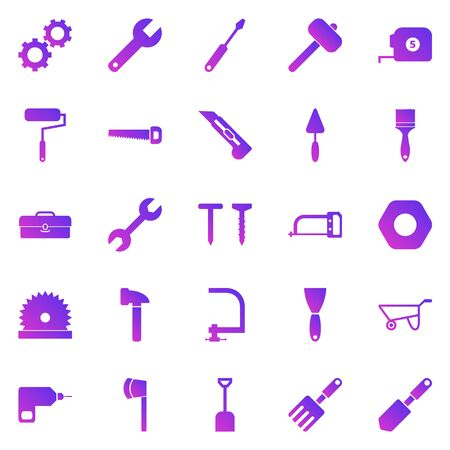 Tool gradient icons on white background, stock vector