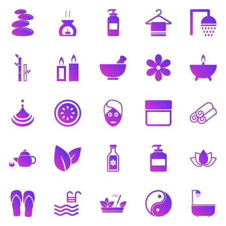 Spa gradient icons on white background, stock vector