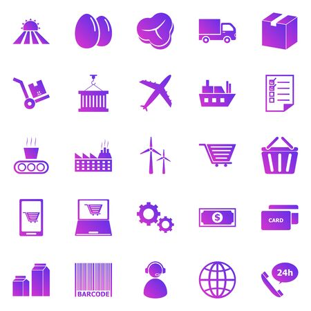 Supply chain gradient icons on white background, stock vector Иллюстрация