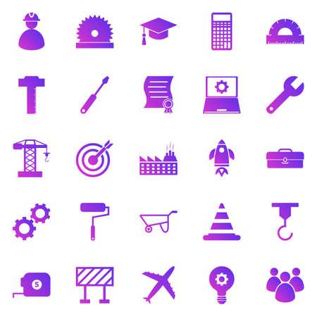Engineering gradient icons on white background, stock vector Векторная Иллюстрация