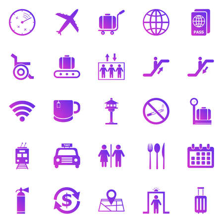 Airport gradient icons on white background, stock vector