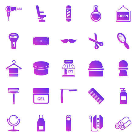 Barber gradient icons on white background, stock vector 矢量图像