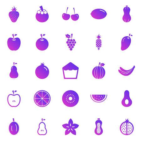 Fruit gradient icons on white background, stock vector Stock Illustratie