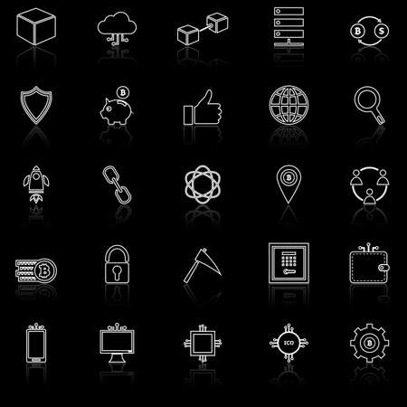 Blockchain line icons with reflect on black background, stock vector