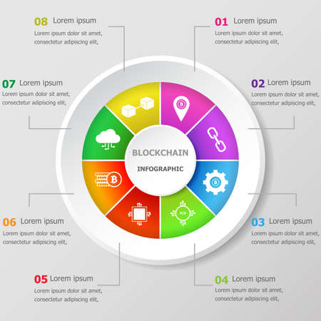 Infographic design template with blockchain icons, stock vector
