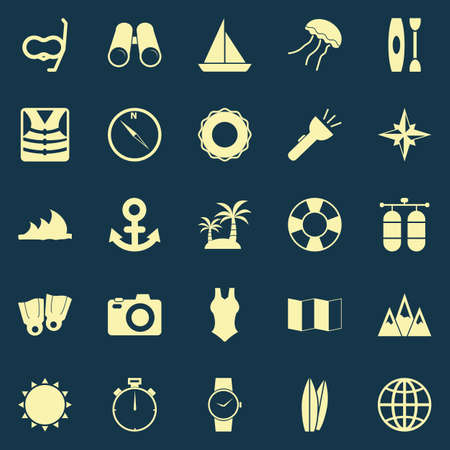 Diving color icons on blue background, stock vector