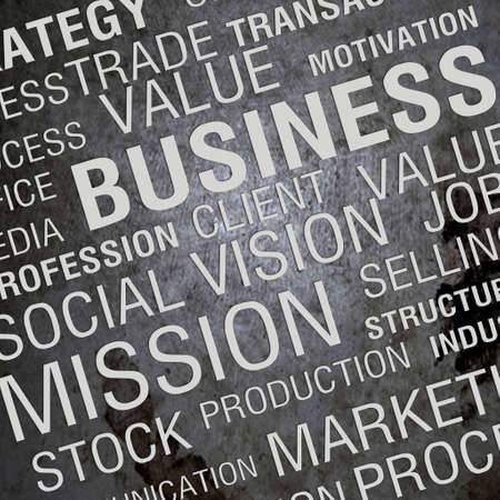 BUSINESS  3D background with different association terms  Imagens